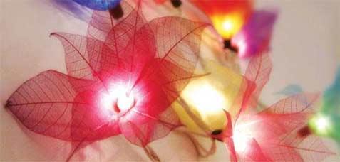 """Multi-Colored"" Bodhi Leaf Flower String Lights - 9' length - Product Image"