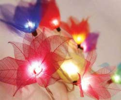 multi colored flower party string lights