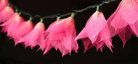 """""""Pink"""" Bodhi Leaf Flower String Lights - 9' length - Product Image"""