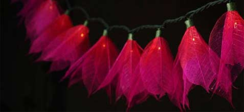 """Wine"" Bodhi Leaf Flower String Lights - 9' length - Product Image"