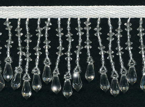 clear teardrop variegated beaded fringe