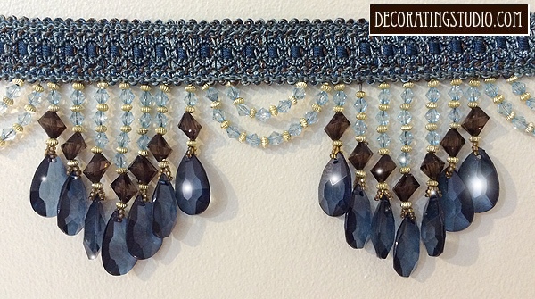 blue & brown beaded fringe trim