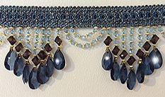 venice blue and brown beaded fringe trim