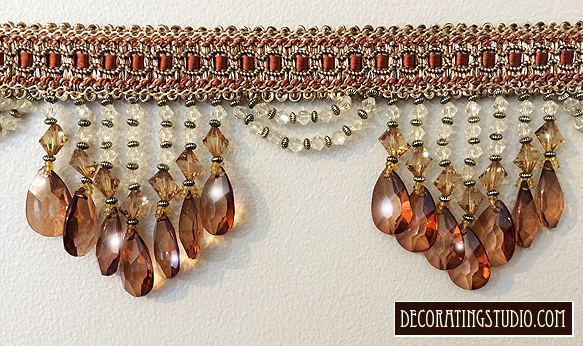 Bronze Venice Beaded Fringe Trim on Braid