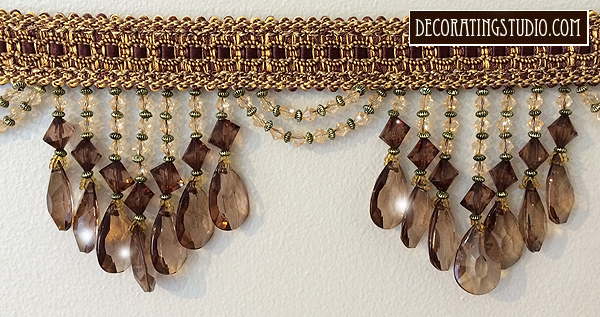 brown home decor beaded trim