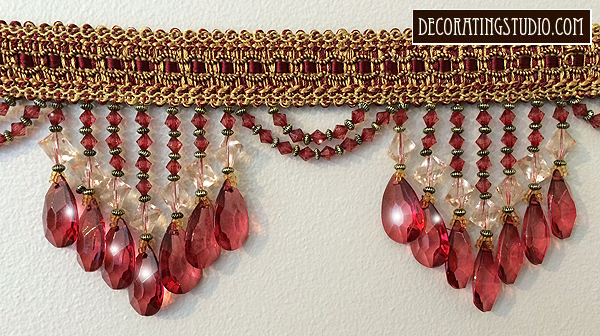 Burgundy Venice Beaded Fringe Trim on Braid