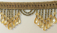 venice beaded fringe trim in pale gold