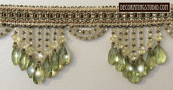 Green Venice Beaded Fringe Trim on Braid