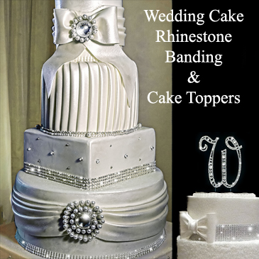 wedding cake rhinestone toppers and rhinestone banding