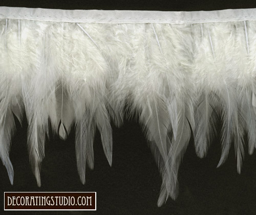 white ivory wings of an angel feather trim