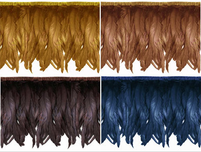 iridescent feather fringe with metallic sheen