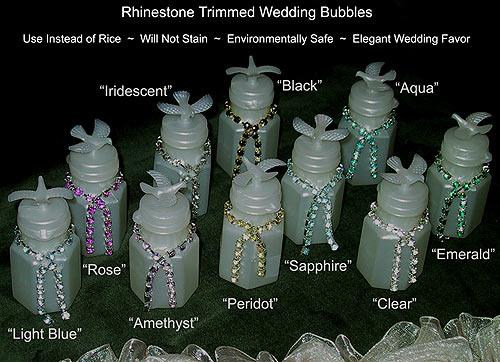 Rhinestone Wedding Bubble Bottles