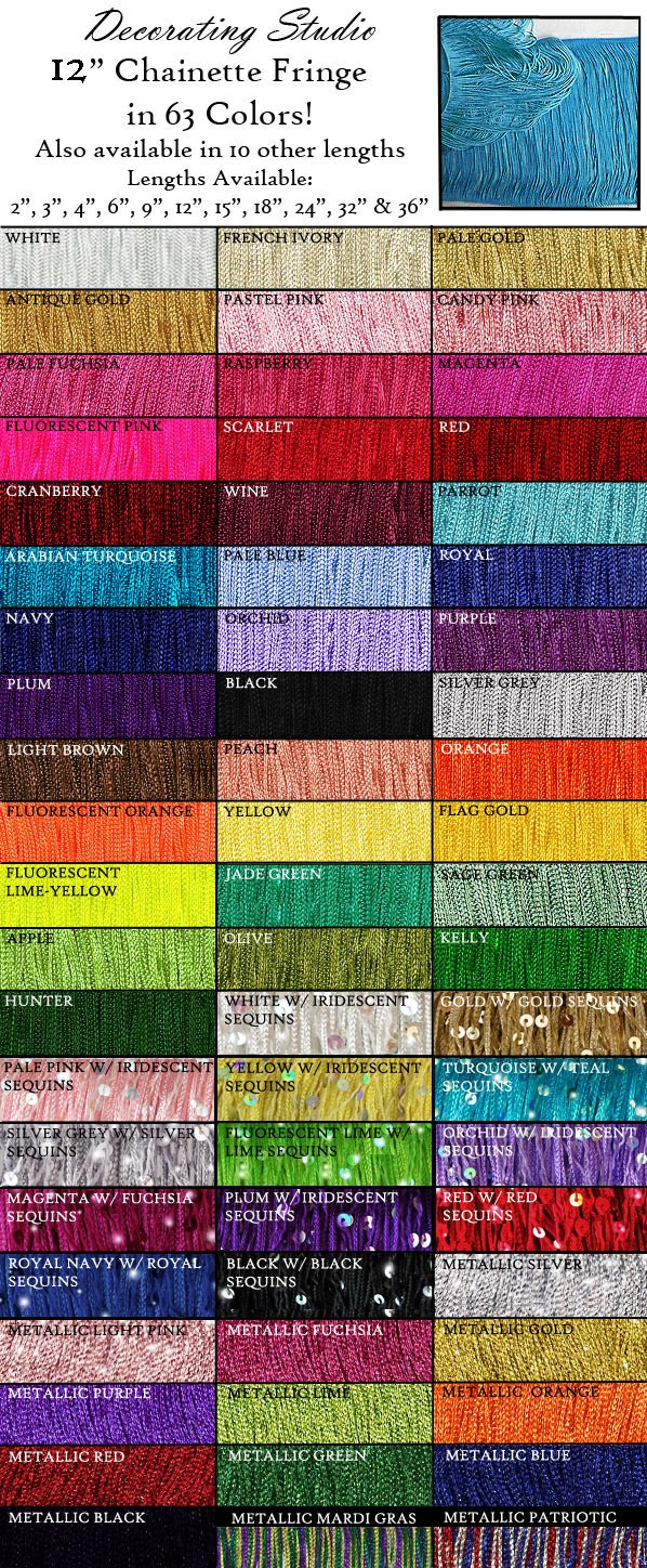 "12"" Rayon Chainette Fringe Yard(s) - Product Image"