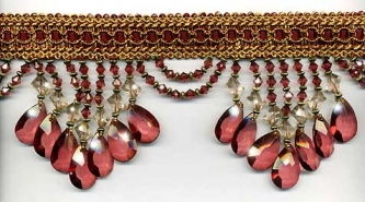 "Venice ""Burgundy"" Beaded Fringe yard(s) - Product Image"