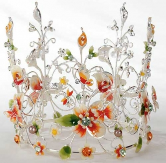 Amber Jeweled & Floral Crown Cake Topper - Product Image