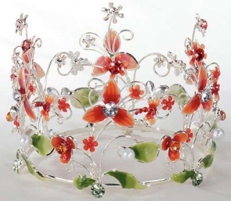 Red Jeweled & Floral Crown Cake Topper - Product Image