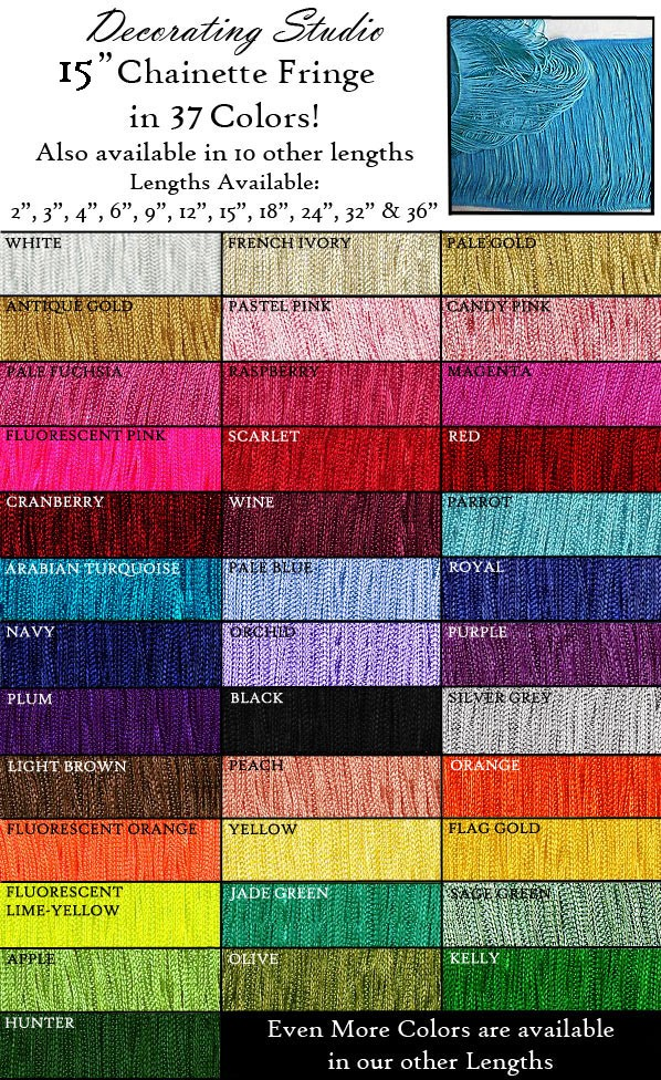 "15"" Long Rayon Chainette Fringe Yard(s) - Product Image"