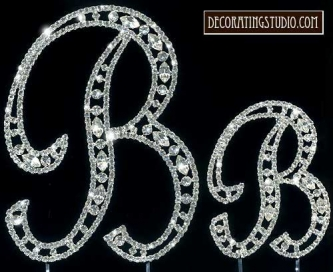 "Monogram Crystal Marquise Cut Cake Toppers  ""B"" - Product Image"