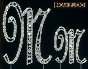 "Monogram Crystal Marquise Cut Cake Toppers  ""M"" - Product Image"