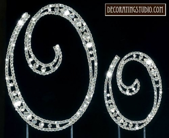 "Monogram Crystal Marquise Cut Cake Toppers  ""O"" - Product Image"