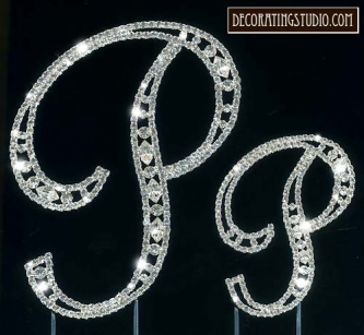 "Monogram Crystal Marquise Cut Cake Toppers ""P"" - Product Image"