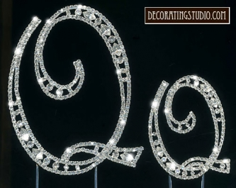 "Monogram Crystal Marquise Cut Cake Toppers  ""Q"" - Product Image"