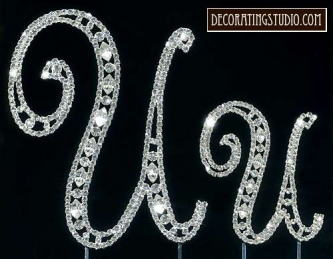 "Monogram Crystal Marquise Cut Cake Toppers  ""U"" - Product Image"