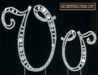 "Monogram Crystal Marquise Cut Cake Toppers  ""V"" - Product Image"