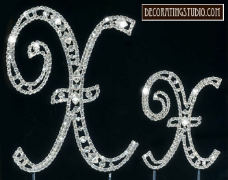"Monogram Crystal Marquise Cut Cake Toppers  ""X"" - Product Image"