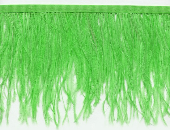 "Ostrich Feather Trim in ""Apple Green"" - Yard(s) - Product Image"