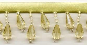 "Beaded Drop Fringe Trim - ""Pale Yellow"" - Product Image"