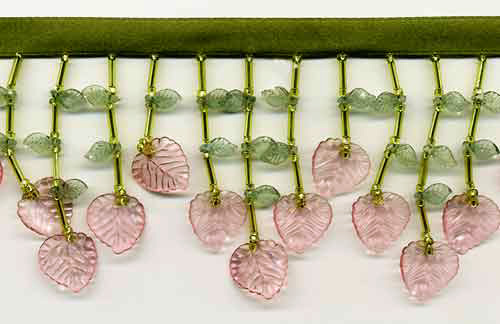 Angelina's Leaves (Pink/Green) Beaded Trim - Yard(s) - Product Image