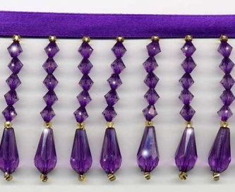 Purple Decor Beaded Fringe - Yard(s) - Product Image