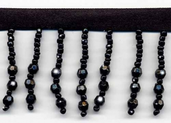 Perfectly Black Beaded Fringe - Yard(s) - Product Image