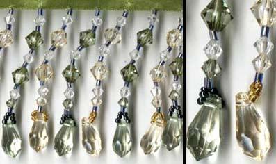 "Teardrops Beaded Fringe - ""Green & Gold"" - 5 yard bolt - Product Image"