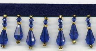 "Beaded Drop Fringe Trim - ""Royal Blue"" - Product Image"