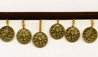 Gold Coins on Black - Yard(s) - Product Image