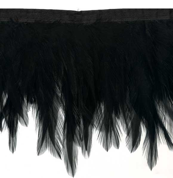 """Black Feather Wings"" Feather Trim - 10 Yd Bolt - Product Image"