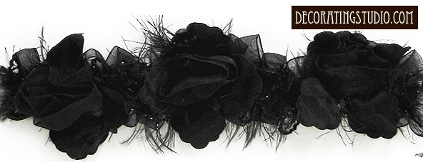 """Black"" Organza/Chenille Flower Trim yard(s) - Product Image"