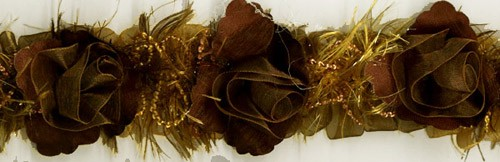 """Brown"" Organza/Chenille Flower Trim yard(s) - Product Image"