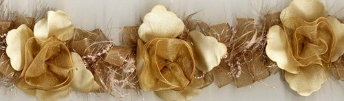 """Cream & Gold"" Organza/Chenille Flower Trim yard(s) - Product Image"