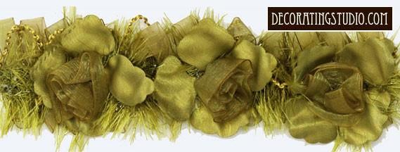 """Deep Sage"" Organza/Chenille Flower Trim yard(s) - Product Image"