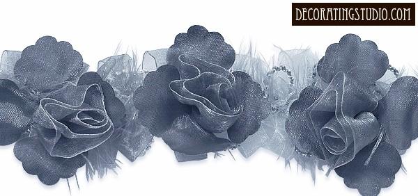 """Grey"" Organza/Chenille Flower Trim yard(s) - Product Image"