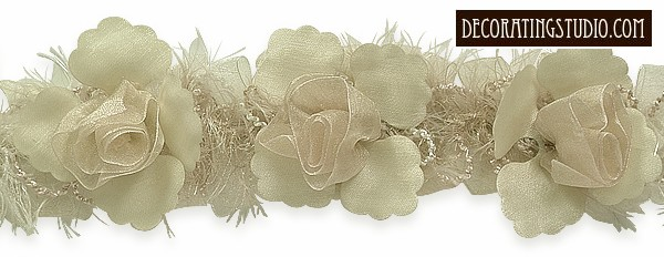 """""""Ivory"""" Organza/Chenille Flower Trim yard(s) - Product Image"""