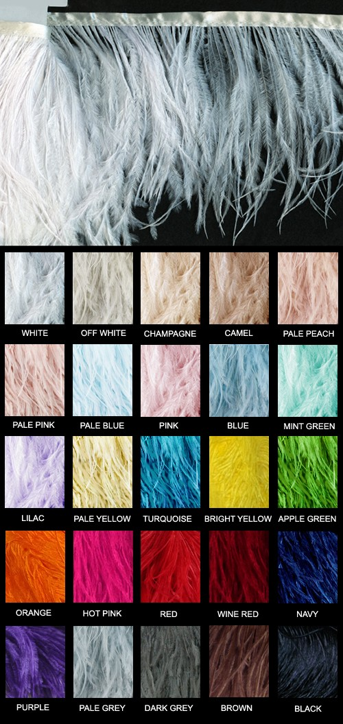 Ostrich Feather Fringe in 25 Colors - Yard - Product Image