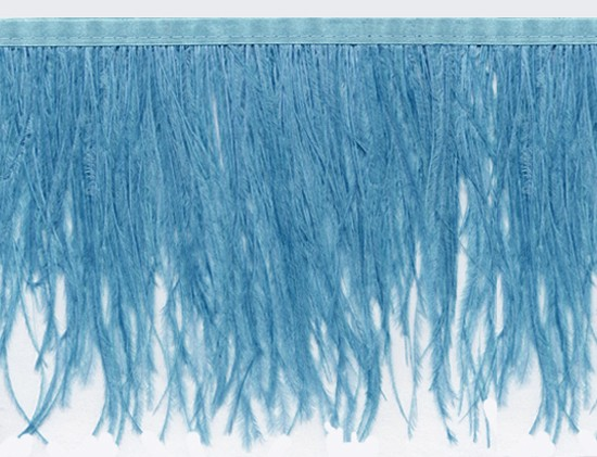 "Ostrich Feather Trim in ""Blue"" - Yard(s) - Product Image"