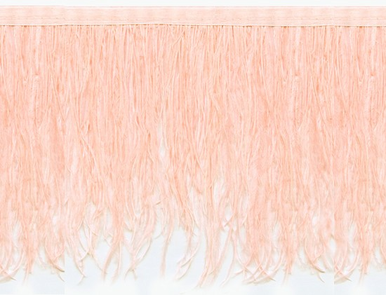 "Ostrich Feather Trim in ""Pale Peach"" - Yard(s) - Product Image"