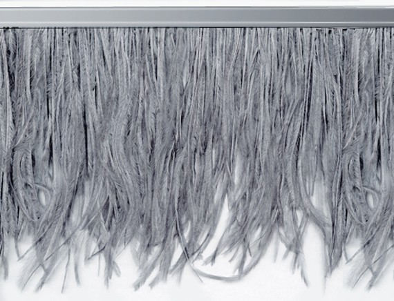 "Ostrich Feather Trim in ""Dark Grey"" - Yard(s) - Product Image"
