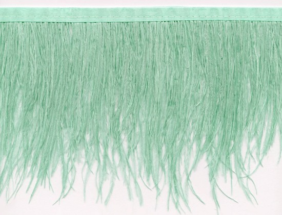 "Ostrich Feather Trim in ""Mint Green"" - Yard(s) - Product Image"