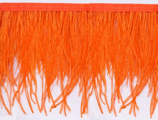 "Ostrich Feather Trim in ""Orange"" - Yard(s) - Product Image"
